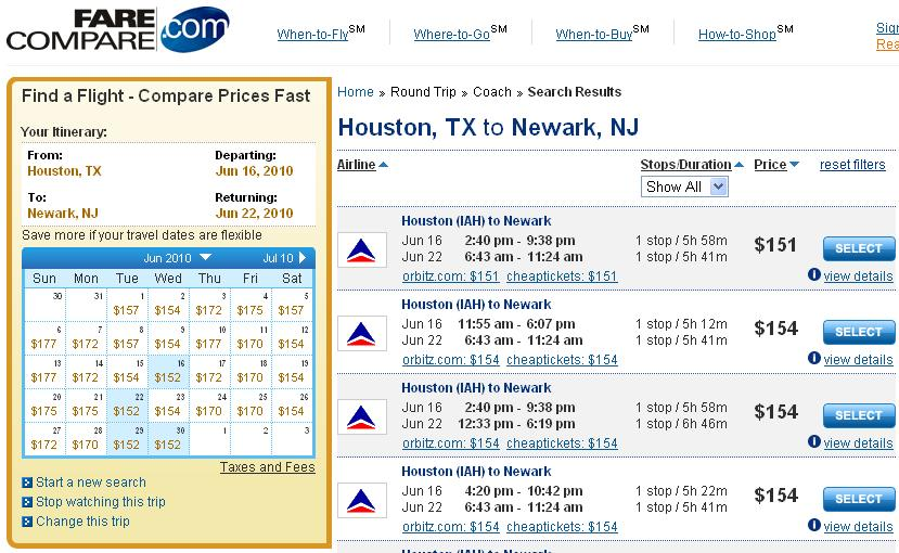 Continental Airlines Hub Buster Airfare