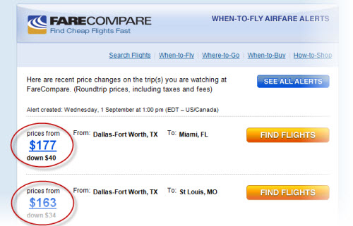 FareCompare Airfare Alerts via email