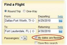 Cheap flights flexible dates