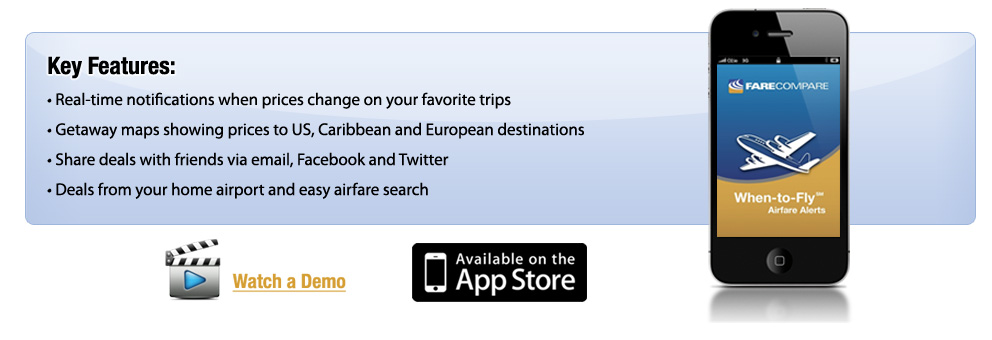 FareCompare When-to-Fly Airfare Alerts for iPhone