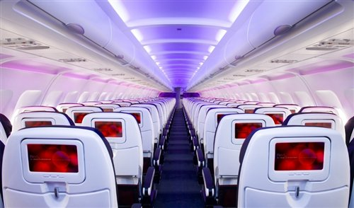 Virgin America's high entertainment cabin interior