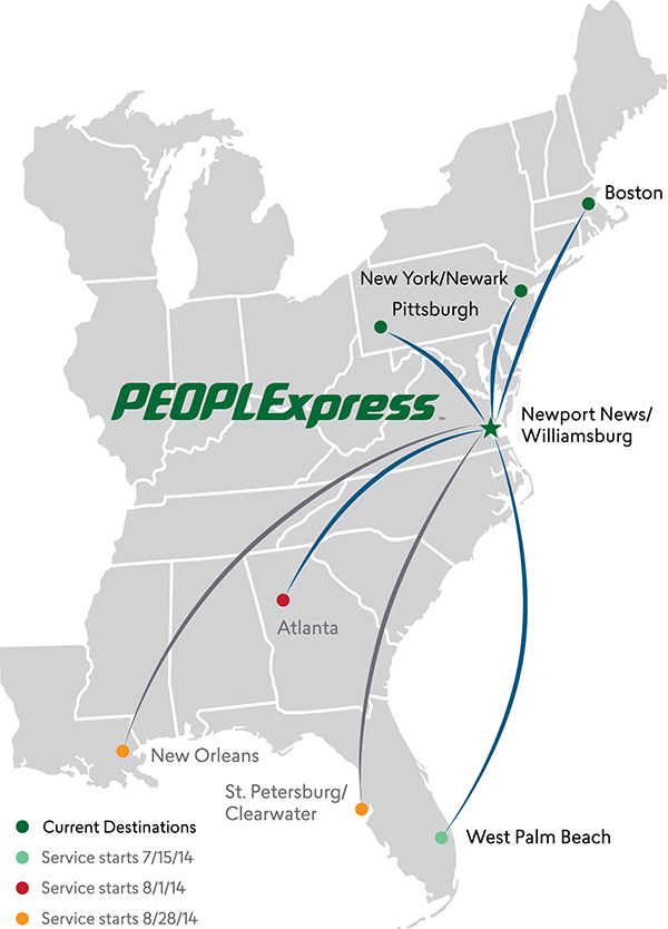 PEOPLExpress Service Map